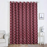 Trellis Curtain Panels | Pack of 2 | White & Burgundy Blackout Curtains | 52 x 108 Inch Grommet Curtains | Insulated Grommet Curtains