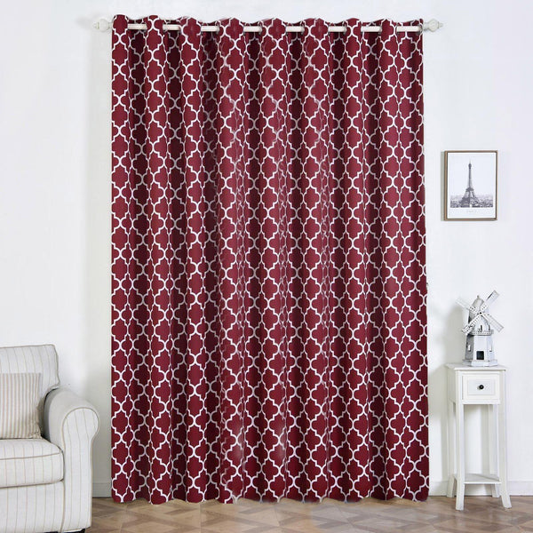 "Trellis Curtain Panels | Pack of 2 | White & Burgundy Blackout Curtains | 52""x108"" Grommet Curtains 