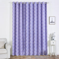 Trellis Curtain Panels | Pack of 2 | White & Lavender Blackout Curtains | 52 x 108 Inch Grommet Curtains | Room Darkening Curtains With Grommets
