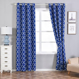 Lattice Print Curtains | Pack of 2 | White & Royal Blue Blackout Curtains | 52 x 108 Inch Grommet Curtains | Eyelet Blackout Curtains