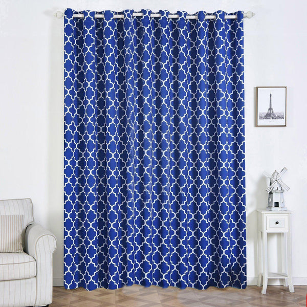 "Lattice Print Curtains | Pack of 2 | White & Royal Blue Blackout Curtains | 52""x108"" Grommet Curtains 