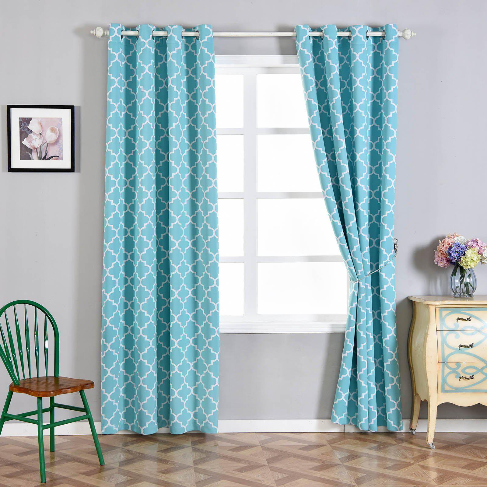 Lattice Print Curtains | Pack of 2 | White & Turquoise Blackout Curtains | 52 x 108 Inch Grommet ...