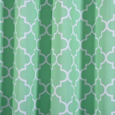 Lattice Pattern Curtain Panels | Pack of 2 | White & Green Trellis Curtains | 52 x 64 Inch Grommet Curtains | Blackout Soundproof Curtains