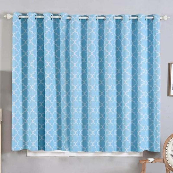 Lattice Curtains | Pack of 2 | Blue and White Trellis Curtains  | 52 x 64 Inch Grommet Curtains | Designer Blackout Curtains - Clearance SALE