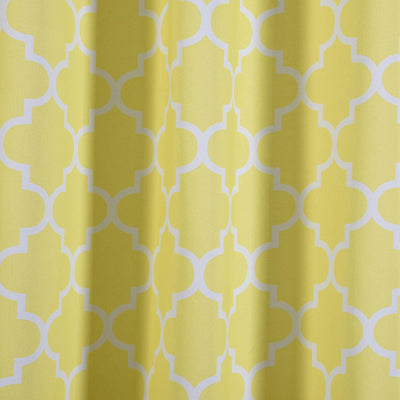 Lattice Pattern Curtains | Pack of 2 | White & Yellow Trellis Curtains | 52 x 64 Inch Blackout Curtains | Insulated Grommet Curtains