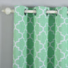 Lattice Pattern Curtain Panels | Pack of 2 | White & Green Trellis Curtains | 52 x 84 Inch Grommet Curtains | Blackout Soundproof Curtains