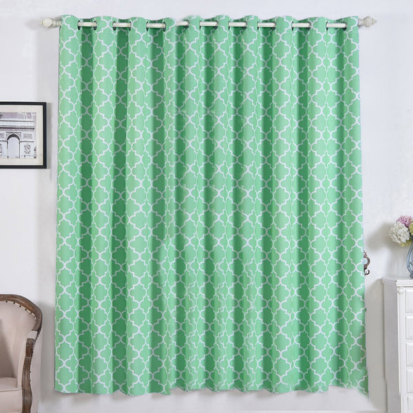 "Lattice Pattern Curtain Panels | Pack of 2 | White & Green Trellis Curtains | 52""x84"" Grommet Curtains 