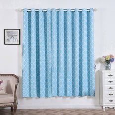 Lattice Curtains | Pack of 2 | Blue and White Trellis Curtains  | 52 x 84 Inch Grommet Curtains | Noise Cancelling Curtains