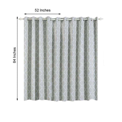 Lattice Print Curtains | Pack of 2 | Silver & White Trellis Curtains | 52 x 84 Inch Blackout Curtains | Designer Blackout Curtains