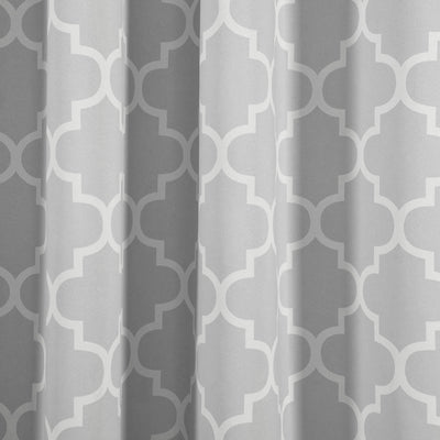 "Lattice Print Curtains | Pack of 2 | Silver & White Trellis Curtains | 52""x84"" Blackout Curtains 