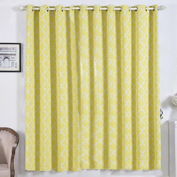 "Lattice Pattern Curtains | Pack of 2 | White & Yellow Trellis Curtains | 52""x84"" Blackout Curtains 
