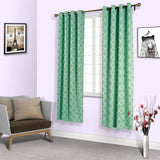 Lattice Pattern Curtain Panels | Pack of 2 | White & Green Trellis Curtains | 52 x 96 Inch Grommet Curtains | Blackout Soundproof Curtains