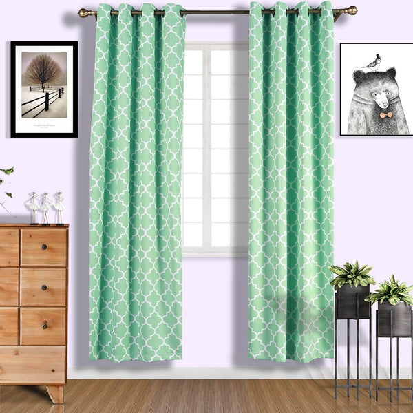 "Lattice Pattern Curtain Panels | Pack of 2 | White & Green Trellis Curtains | 52""x96"" Grommet Curtains 