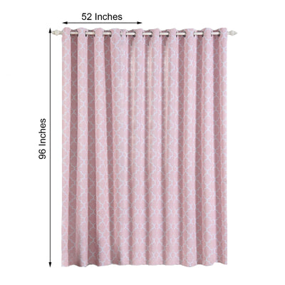 Lattice Pattern Curtains | Pack of 2 | Blush & White Trellis Curtains | 52 x 96 Inch Grommet Curtains | Blackout Soundproof Curtains