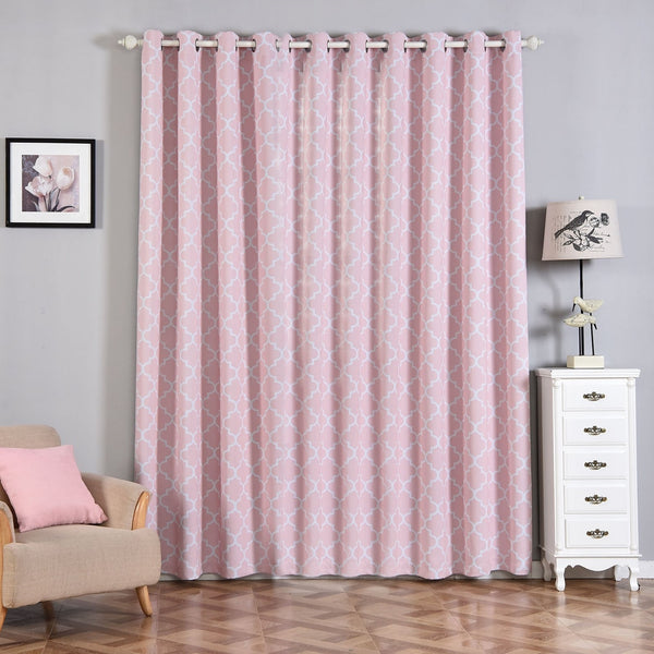"Lattice Pattern Curtains | Pack of 2 | Blush & White Trellis Curtains | 52""x96"" Grommet Curtains 