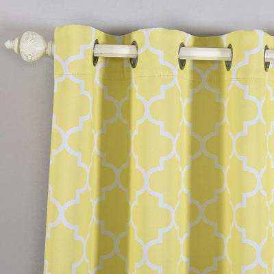 Lattice Pattern Curtains | Pack of 2 | White & Yellow Trellis Curtains | 52 x 96 Inch Blackout Curtains | Insulated Grommet Curtains