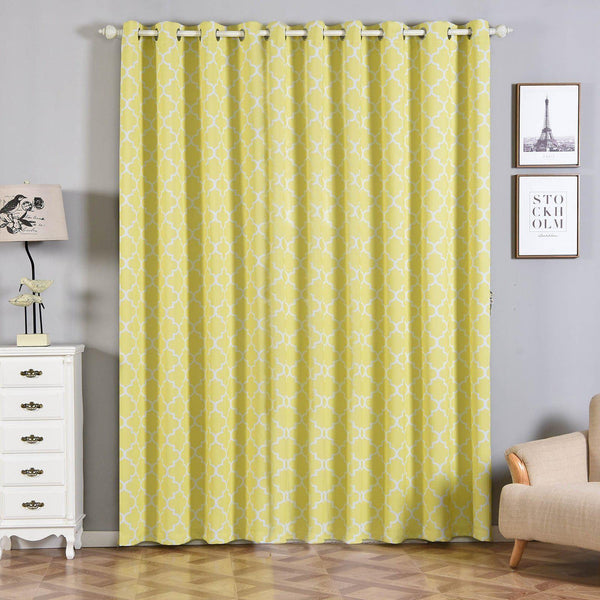 "Lattice Pattern Curtains | Pack of 2 | White & Yellow Trellis Curtains | 52""x96"" Blackout Curtains 