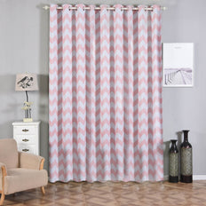 Chevron Blackout Curtains | Pack of 2 | White & Blush Blackout Curtains | 52 x 108 Inch Grommet Curtains | Blackout Noise Reducing Curtains