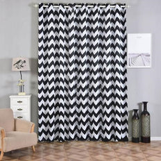 Chevron Blackout Curtains | Pack of 2 | White & Black Blackout Curtains | 52 x 108 Inch Grommet Curtains | Thermal Grommet Curtains