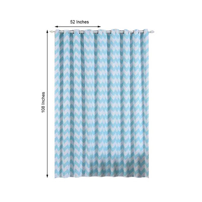 Chevron Blackout Curtains | Pack of 2 | White & Baby Blue Blackout Curtains | 52 x 108 Inch Grommet Curtains | Soundproof Velvet Curtains