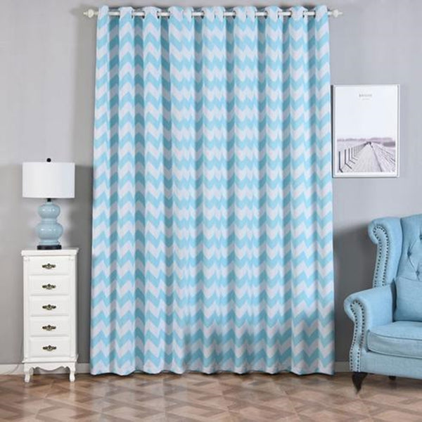 "Chevron Blackout Curtains | Pack of 2 | White & Baby Blue Blackout Curtains | 52""x108"" Grommet Curtains 