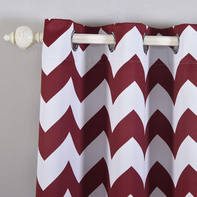 Chevron Blackout Curtains | 2 Packs | White & Burgundy Blackout Curtains | 52 x 108 Inch Grommet Curtains | Blackout Soundproof Curtains