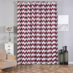 Chevron Blackout Curtains | Pack of 2 | White & Burgundy Blackout Curtains | 52 x 108 Inch Grommet Curtains | Blackout Soundproof Curtains