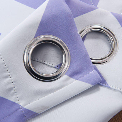 Chevron Blackout Curtains | Pack of 2 | White & Lavender Blackout Curtains | 52 x 108 Inch Grommet Curtains | Thermal Grommet Curtains