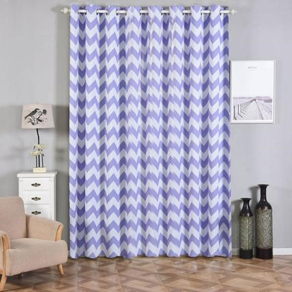 "Chevron Blackout Curtains | Pack of 2 | White & Lavender Blackout Curtains | 52""x108"" Grommet Curtains 