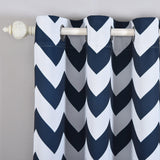 Chevron Blackout Curtains | Pack of 2 | White & Navy Blue Blackout Curtains | 52 x 108 Inch Grommet Curtains | Blackout Patterned Curtains