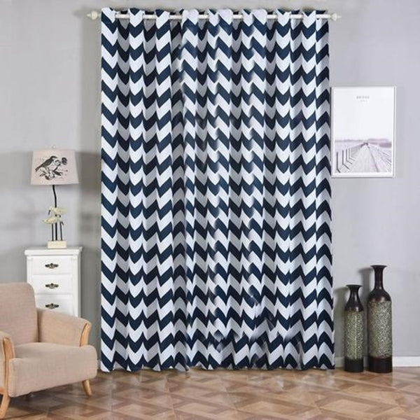 "Chevron Blackout Curtains | Pack of 2 | White & Navy Blue Blackout Curtains | 52""x108"" Grommet Curtains 