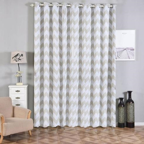 "Chevron Blackout Curtains | Pack of 2 | White & Silver Blackout Curtains | 52""x108"" Grommet Curtains 