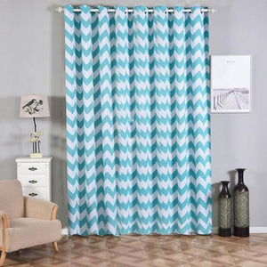 Chevron Blackout Curtains | Pack of 2 | White & Turquoise Blackout Curtains | 52 x 108 Inch Grommet Curtains | Designer Blackout Curtains