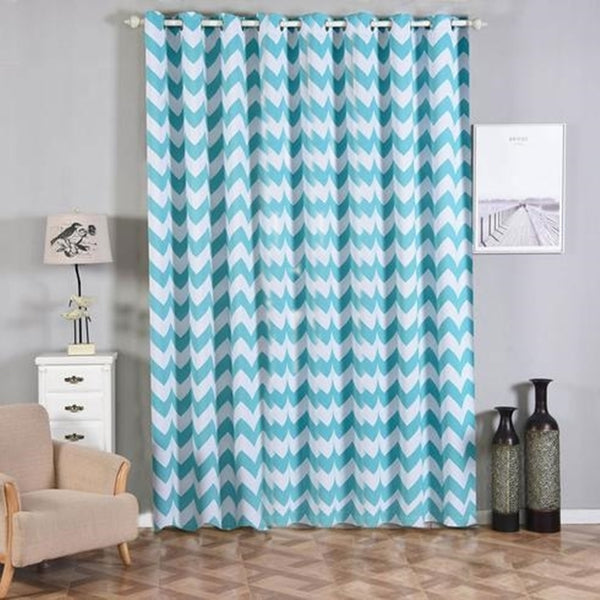 Chevron Blackout Curtains | Pack of 2 | White & Turquoise Blackout Curtains | 52 x 108 Inch Grommet Curtains | Designer Blackout Curtains - Clearance SALE