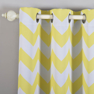 Chevron Blackout Curtains | Pack of 2 | White & Yellow Blackout Curtains | 52 x 108 Inch Grommet Curtains | Soundproof Velvet Curtains