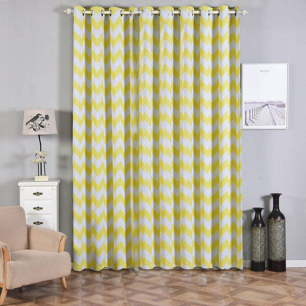 "Chevron Blackout Curtains | Pack of 2 | White & Yellow Blackout Curtains | 52""x108"" Grommet Curtains 