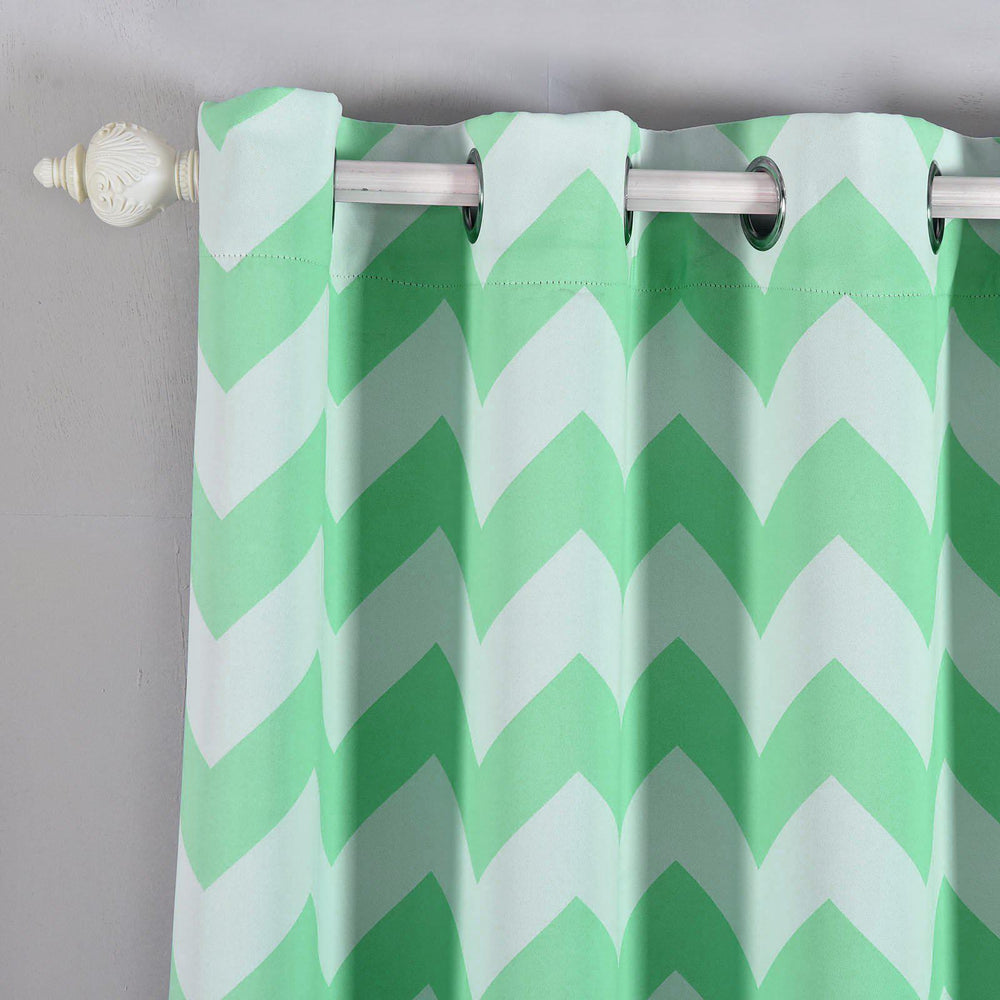 Blackout Curtains 52x64 White Mint Chevron Design Pack Of 2 Thermal Insulated With Chrome