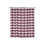 Chevron Blackout Curtains | Pack of 2 | White & Burgundy Chevron Curtains | 52 x 64 Inch Grommet Curtains | Curtain Sound Absorption