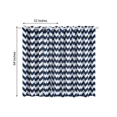 Chevron Blackout Curtains | Pack of 2 | White & Navy Blue Chevron Curtains | 52 x 64 Inch Grommet Curtains | Soundproofing Curtains