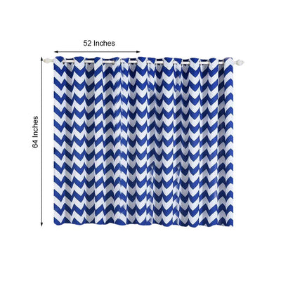 Chevron Blackout Curtains | Pack of 2 | White & Royal Blue Chevron Curtains | 52 x 64 Inch Grommet Curtains | Blackout Patterned Curtains