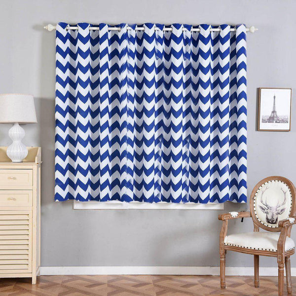 "Chevron Blackout Curtains | Pack of 2 | White & Royal Blue Chevron Curtains | 52""x64"" Grommet Curtains 
