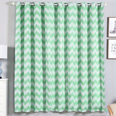 Chevron Blackout Curtains | Pack of 2 | White & Mint Chevron Curtains | 52 x 84 Inch Grommet Curtains | Noise Cancelling Curtains