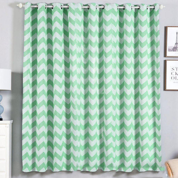 "Chevron Blackout Curtains | Pack of 2 | White & Mint Chevron Curtains | 52""x84"" Grommet Curtains 