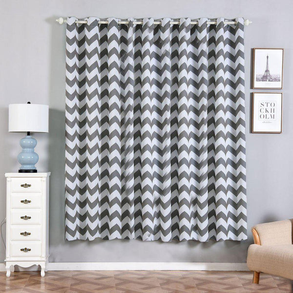 "Chevron Blackout Curtains | Pack of 2 | Charcoal Gray & White Chevron Curtains | 52""x84"" Grommet Curtains 