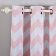 Chevron Blackout Curtains | Pack of 2 | Blush & White Chevron Curtains | 52 x 84 Inch Grommet Curtains | Room Darkening Curtains
