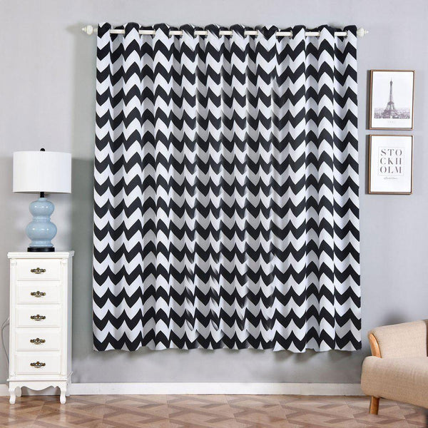 "Chevron Blackout Curtains | Pack of 2 | White and Black Chevron Curtains | 52""x84"" Grommet Curtains 