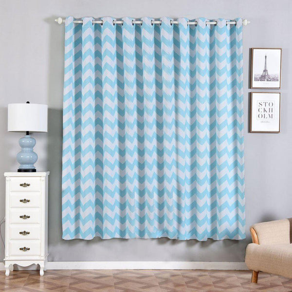 "Chevron Blackout Curtains | Pack of 2 | White & Baby Blue Chevron Curtains | 52""x84"" Grommet Curtains 