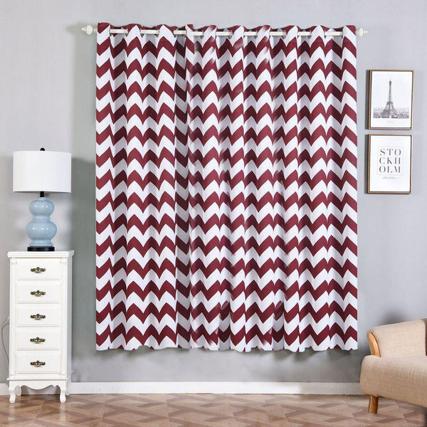 "Chevron Blackout Curtains | Pack of 2 | Burgundy & White Chevron Curtains | 52""x84"" Grommet Curtains 