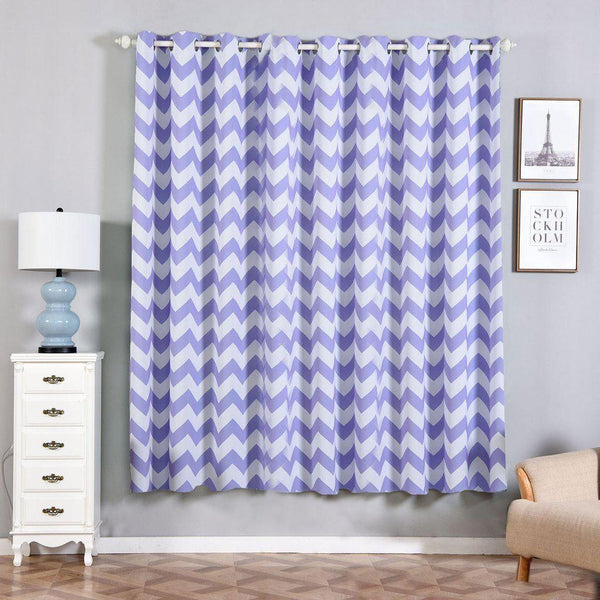 "Chevron Blackout Curtains | Pack of 2 | Lavender & White Chevron Curtains | 52""x84"" Grommet Curtains 