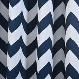 Chevron Blackout Curtains | Pack of 2 | White & Navy Blue Chevron Curtains | 52 x 84 Inch Grommet Curtains | Thermal Insulated Blackout Curtains